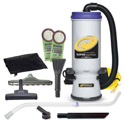 Super CoachVac 10 Qt. Commercial Backpack Vacuum with Residential Cleaning Service Tool Kit