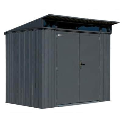 Denali 8 ft. x 5 ft. Anthracite Premium Steel Shed with Lockable Swing Doors
