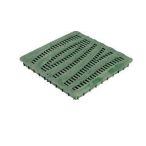 12 in. Plastic Square Drainage Catch Basin Grate with Wave Design in Green