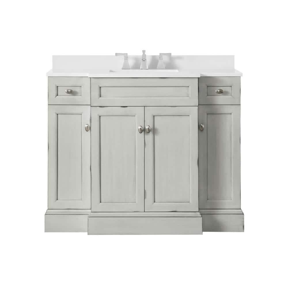 Home Decorators Collection Teagen 42 In W Bath Vanity In Vintage Grey With Cultured Stone Vanity Top In White With White Basin Teagen 42vi The Home Depot