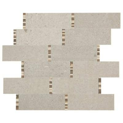 Premier Accents Bisque Mini Brick Joint 11 in. x 13 in. x 8 mm Stone Mosaic Floor and Wall Tile (0.92 sq. ft./Each)
