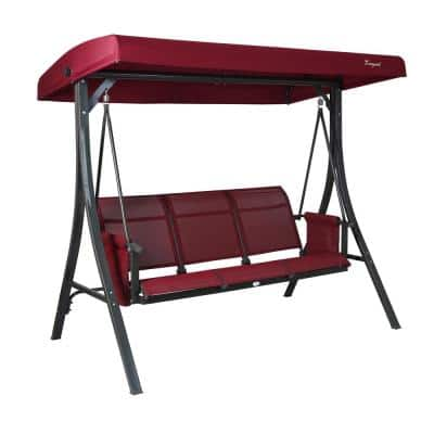Brenda 3-Person Patio Swing with Weather Resistant Powder Coated Steel Frame and Textilence Seats in Burgundy