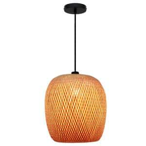 Bernice 14 in. 1-Light Black Pendant with Natural Rattan Shade