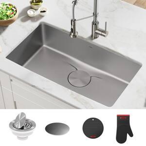 Dex Undermount Stainless Steel 33 in. Single Bowl Kitchen Sink
