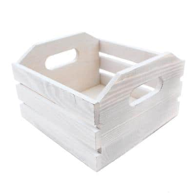Project Craft DIY Whitewashed Wood Crate for Storage, Decor and Crafts, 7 in. x 7 in. x 5 in.