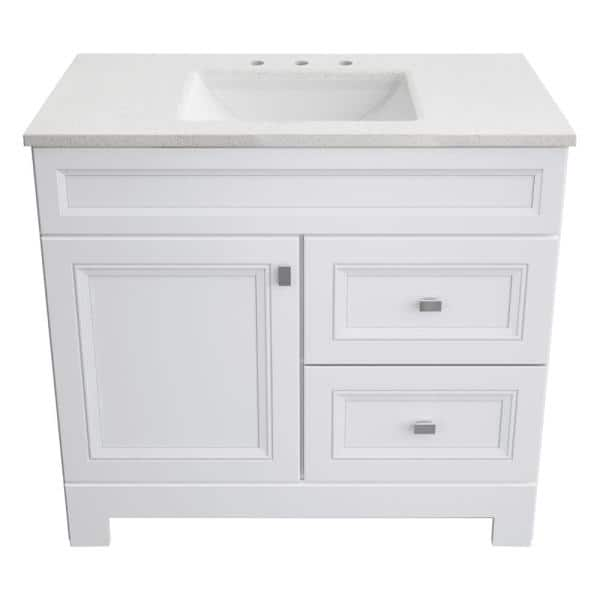 Home Decorators Collection Sedgewood 36 1 2 In W Bath Vanity In White With Solid Surface Technology Vanity Top In Arctic With White Sink Pplnkwht36d The Home Depot
