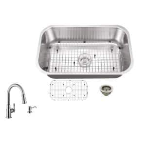 All-In-One Undermount 18-Gauge Stainless Steel 29-3/4 in. Single Bowl Kitchen Sink in Brushed Stainless with Arc Faucet