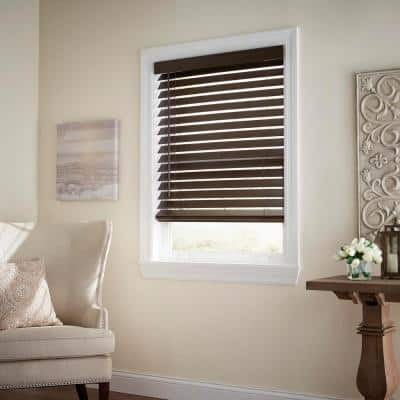 Espresso Cordless Room Darkening 2.5 in. Premium Faux Wood Blind for Window - 46.5 in. W x 48 in. L