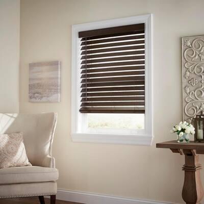 Espresso Cordless Room Darkening 2.5 in. Premium Faux Wood Blind for Window - 22.5 in. W x 64 in. L