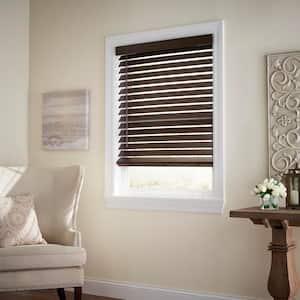 Espresso Cordless Room Darkening 2.5 in. Premium Faux Wood Blind for Window - 57.5 in. W x 64 in. L