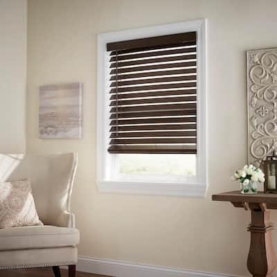 Espresso Cordless Room Darkening 2.5 in. Premium Faux Wood Blind for Window - 58.5 in. W x 64 in. L