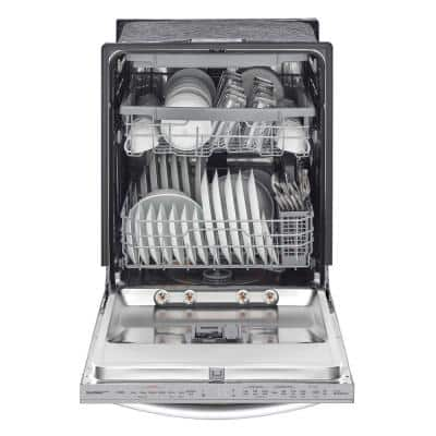 24 in. in PrintProof Stainless Steel Top Control Dishwasher with Towel Bar, TrueSteam and QuadWash