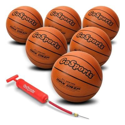 Indoor Outdoor Basketball Hoop Ball with Pump and Bag, Size 7 (6-Pack)