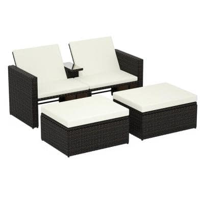 Brown 3-Piece Wicker Outdoor Loveseat with Beige Foam Cushions and 2 Ottomans