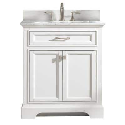 Milano 30 in. W x 22 in. D Bath Vanity in White with Carrara Marble Vanity Top in White with White Basin