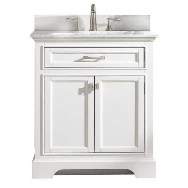 Design Element Milano 30 In W X 22 In D Bath Vanity In White With Carrara Marble Vanity Top In White With White Basin Ml 30 Wt The Home Depot