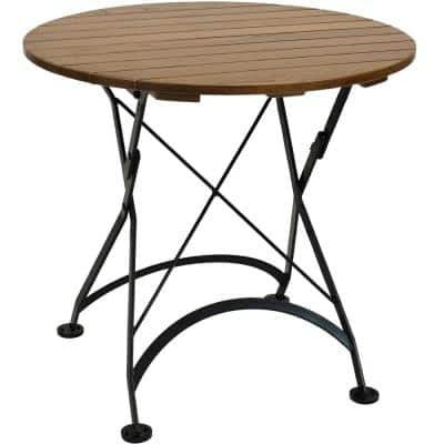 32 in. Brown Round Wood Folding Outdoor Bistro Table