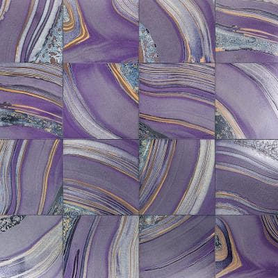 Mica Purple 7.75 in. x 7.75 in. Glazed Porcelain Floor and Wall Tile (3.88 sq. ft. / Case)