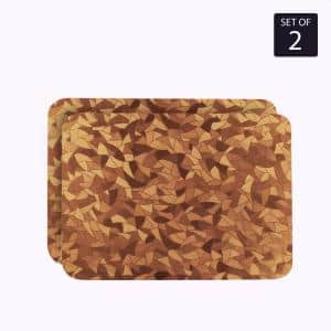 Metallic Leaf 18 in. x 12 in. Browns / Tans Vinyl Placemats (Set of 2)