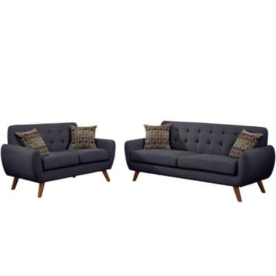 Brescia 2-Piece Ash Black Sofa Set