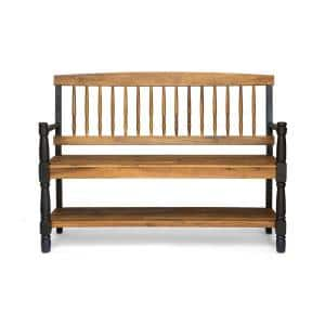 Corinne 2-Person Teak Brown and Black Wood Outdoor Bench with Shelf