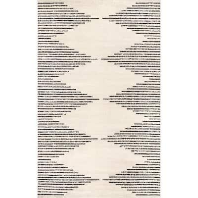 Romina Diamond Pinstripes Gray 6 ft. 7 in. x 9 ft. Area Rug
