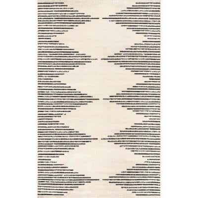 Romina Diamond Pinstripes Gray 9 ft. x 12 ft. Area Rug