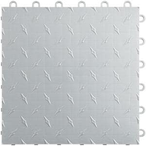 12 in. W x 12 in. L Pearl Silver Diamondtrax Home Modular Polypropylene Flooring (10-Tile/Pack) (10 sq. ft.)