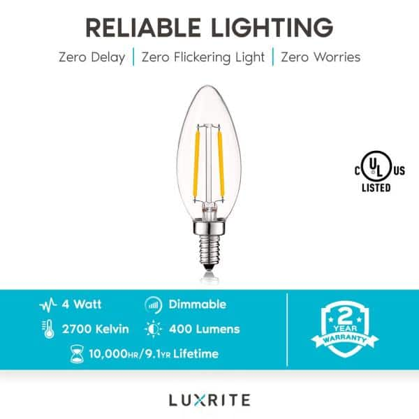 Luxrite 40 Watt Equivalent B10 Vintage Dimmable 400 Lumens Led Bulbs 2700k Warm White 12 Pack Lr21572 12pk The Home Depot
