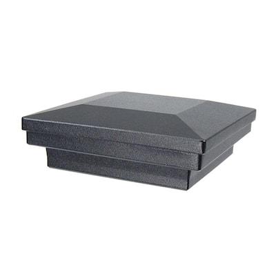 3.5 in. x 3.5 in. Black Sand Aluminum Flat Pyramid Post Cap