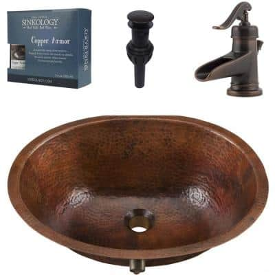 Freud Undermount 19 in. All-In-One Bathroom Sink with Pfister Centerset Bronze Faucet and Drain