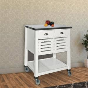 White and Silver Wooden Kitchen Cart with Caster Wheels and 4-Drawers