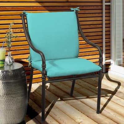 Belcourt 19 x 36 Sunbrella Canvas Aruba Mid Back Outdoor Dining Chair Cushion (2-Pack)