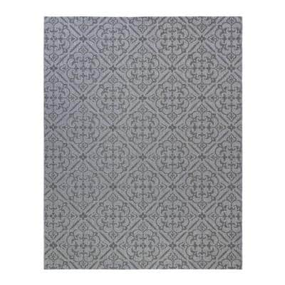Clifton Silver 5 ft. x 8 ft. Geometric Indoor/Outdoor Area Rug