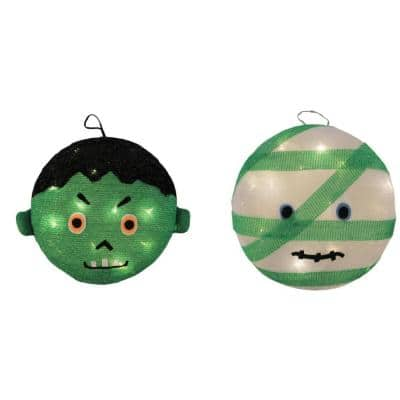 14 in. LED Mummy and Frankenstein Halloween Decoration (Set of 2)
