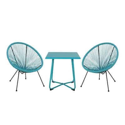 Anson Teal 3-Piece Metal Patio Conversation Seating Set