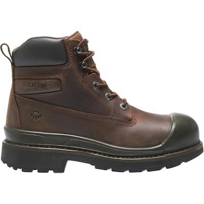 Men's Crawford Waterproof 6 in. Work Boots - Steel Toe - Brown Size 12(W)