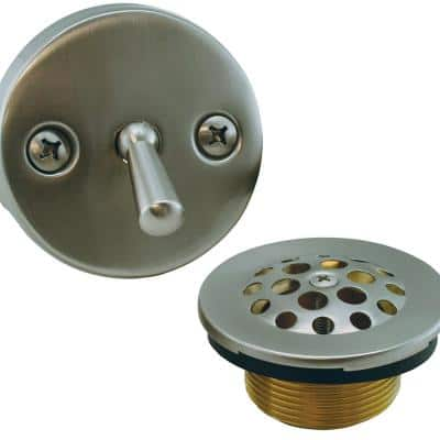 Trip Lever Bath Tub Drain Conversion Kit with 2-Hole Overflow Plate Brushed Nickel