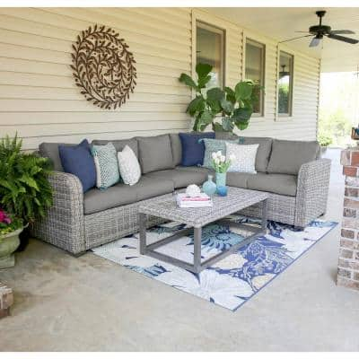 Forsyth 5-Piece Wicker Outdoor Sectional Set with Gray Cushions