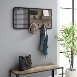 Grey Wash Wood and Metal Wall Organizer with Hooks and Grid