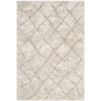 Berber Shag Cream/Light Gray 5 ft. x 7 ft. Area Rug