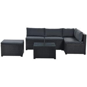 Graceful 6-Piece PE Rattan Wicker Garden Sectional Sofa Chair Set Living Room Furniture Set with Grey Cushions