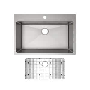 Crosstown Drop-in/Undermount Stainless Steel 33 in. 1-Hole Single Bowl Kitchen Sink with Bottom Grid