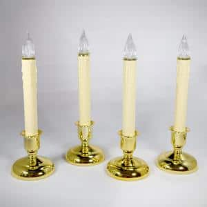 9 in. Battery Operated LED Christmas Candles with Brass Base and Timer (Set of 4)