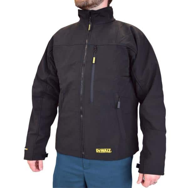 Dewalt Men S Large 20v Max Xr Lithium Ion Black Soft Shell Jacket Kit With 2 0ah Battery And Charger Dchj060abd1 L The Home Depot
