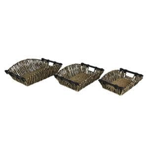 Rectangular Black and Natural Striped Palm Leaf and Seagrass Basket Trays (Set of 3)