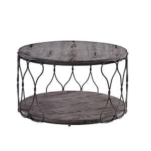 Octavia 34 in. Gray Medium Round Wood Coffee Table with Shelf