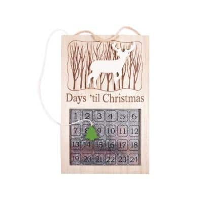 13 in. Tall Wooden Tree Theme Chalet Magnetic Advent Reindeer