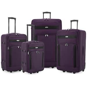 Cedar 4-Piece Purple Softside Lightweight Rolling Luggage Set