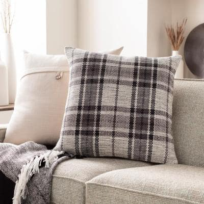 Mangus Charcoal Plaid Polyester Fill 22 in. x 22 in. Decorative Pillow
